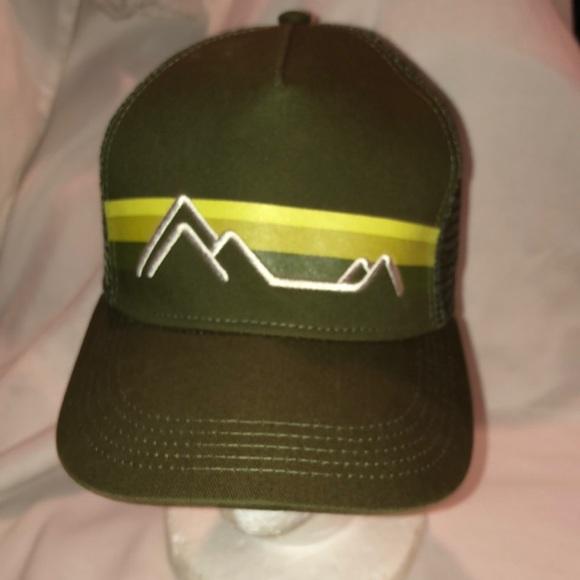 116911d3e Marmot dark olive green mesh trucker hat mountains